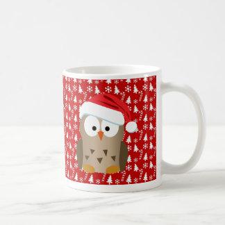 Christmas Owl with Santa Hat Mug