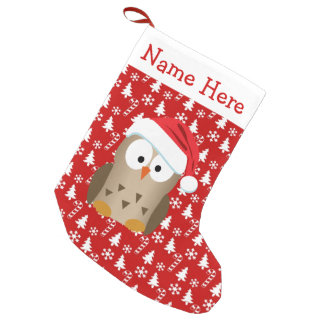 Christmas Owl with Santa Hat Small Christmas Stocking