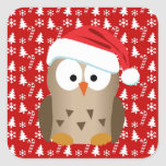 Christmas Owl with Santa Hat Square Sticker