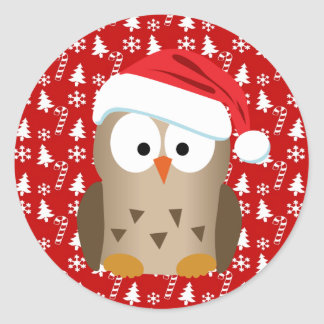 Christmas Owl with Santa Hat Stickers