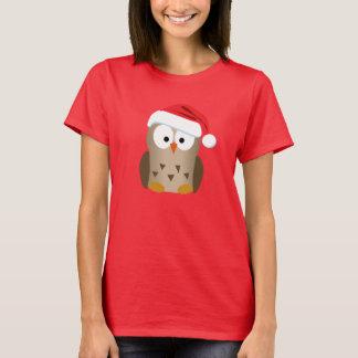 Christmas Owl with Santa Hat T-Shirt