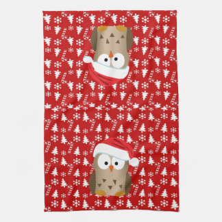 Christmas Owl with Santa Hat Tea Towel