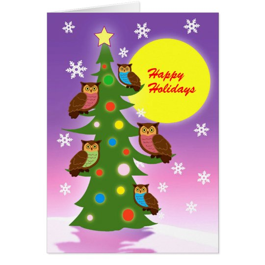 Christmas owls card