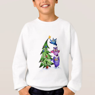 Christmas owls holiday tree sweatshirt
