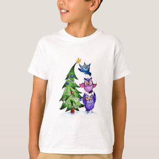 Christmas owls holiday tree t shirt