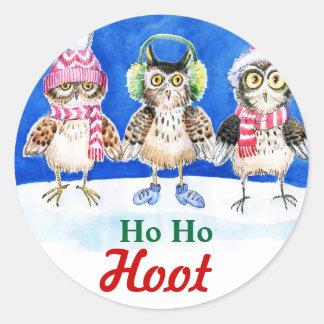 Christmas owls watercolor art round sticker