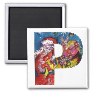 CHRISTMAS P LETTER  / SANTA  WITH GIFTS MONOGRAM SQUARE MAGNET