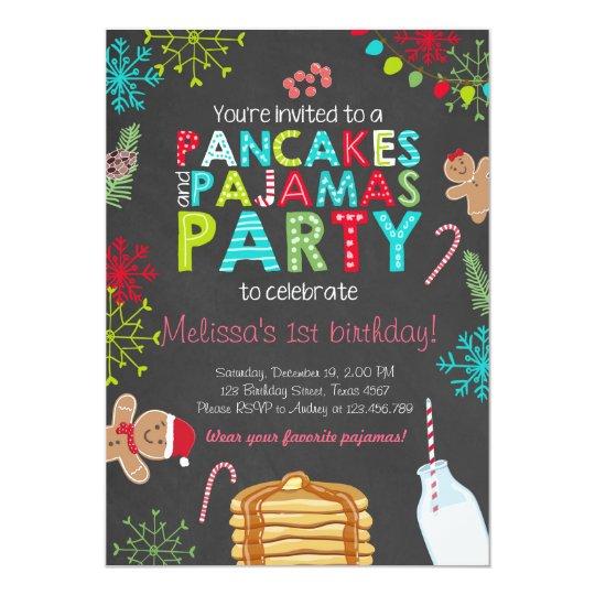Christmas Pancake and Pyjamas birthday invitation