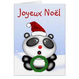 Christmas Panda Bear Cartoon in French Language Card