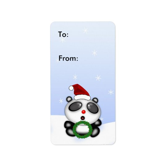 Christmas Panda Bear Customisable Gift Tag
