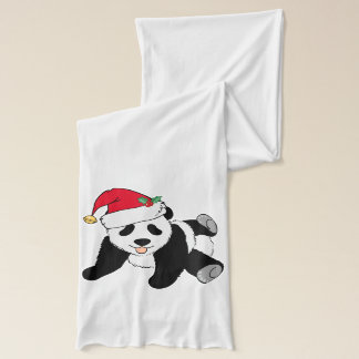 Christmas Panda Bear in Santa Hat Scarf