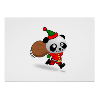 Christmas Panda Bear Santa Claus Poster