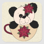 Christmas Panda Bear Square Sticker