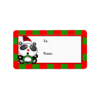 Christmas Panda Bear with Holly Wreath & Santa Hat Address Label
