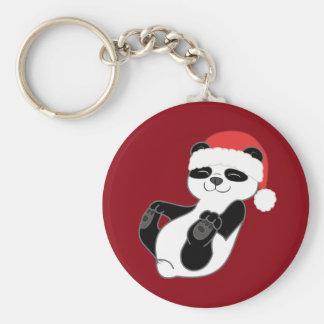 Christmas Panda Bear with Red Santa Hat Basic Round Button Key Ring