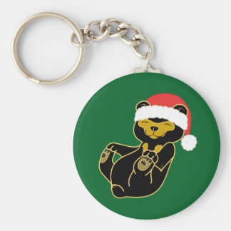 Christmas Panda Bear with Red Santa Hat Basic Round Button Key Ring