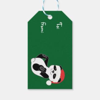 Christmas Panda Bear with Red Santa Hat Gift Tags