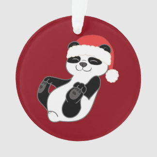 Christmas Panda Bear with Red Santa Hat Ornament