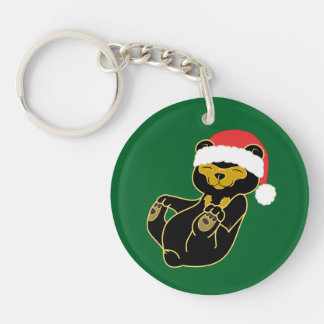 Christmas Panda Bear with Red Santa Hat Single-Sided Round Acrylic Key Ring