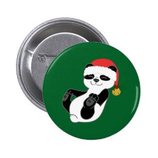Christmas Panda Bear with Santa Hat & Jingle Bell 6 Cm Round Badge