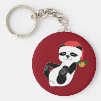 Christmas Panda Bear with Santa Hat & Jingle Bell Basic Round Button Key Ring