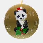 Christmas Panda Double-Sided Ceramic Round Christmas Ornament