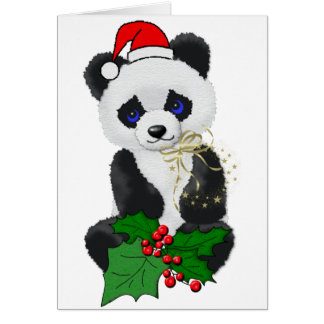Christmas Panda Greeting Card