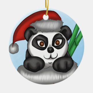 Christmas Panda Round Ceramic Decoration