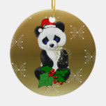 Christmas Panda Round Ceramic Decoration