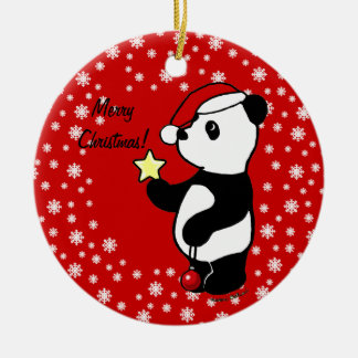 Christmas Panda Stocking Round Ceramic Decoration