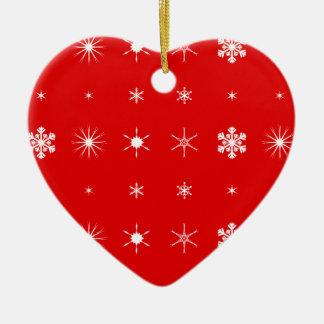 Christmas Paper Background Ceramic Heart Decoration