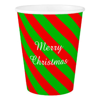 Christmas Paper Cups/Green and Red Stripes