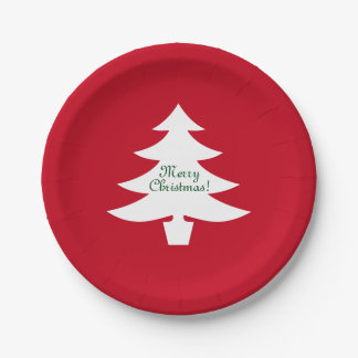 Christmas paper plates | Xmas tree with greeting