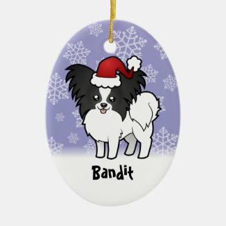 Christmas Papillon (add your pets name) Christmas Ornament
