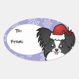 Christmas Papillon Oval Sticker