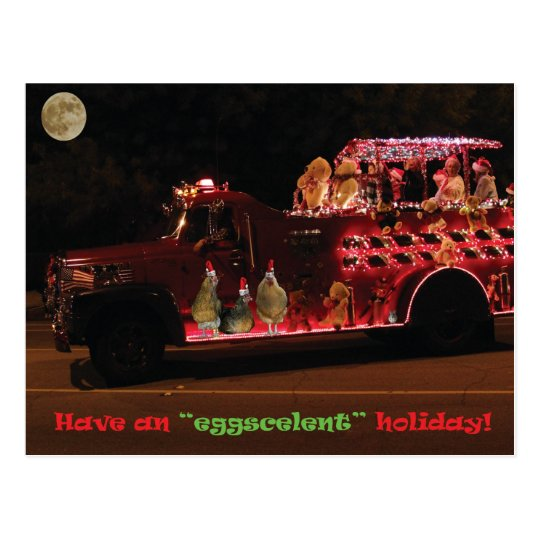 Christmas Parade Chickens Postcard