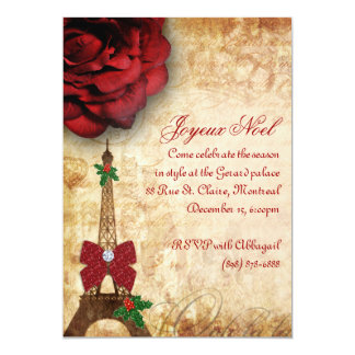Christmas Paris Card Eiffel Tower Vintage Rose 2 13 Cm X 18 Cm Invitation Card