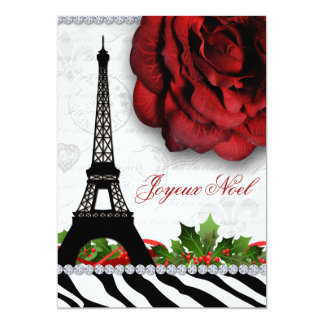 Christmas Paris Eiffel Tower Zebra Rose Flower Card