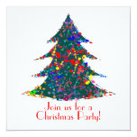 Christmas Party, Action Painting  Art 13 Cm X 13 Cm Square Invitation Card