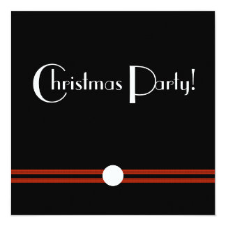 Christmas Party Art Deco Black and White 13 Cm X 13 Cm Square Invitation Card