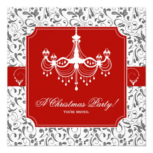 Christmas Party Chandelier Red Black White Invite