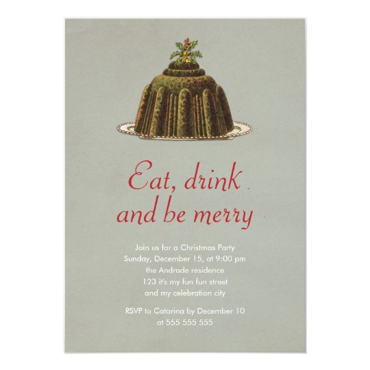 Christmas Party Eat Drink Be Merry Pudding Holiday