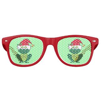 Christmas Party Frog Santa Green Red Retro Sunglasses
