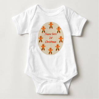 Christmas Party Gingerbread Man Custom Baby Bodysuit