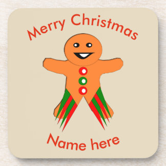 Christmas Party Gingerbread Man Custom Coasters