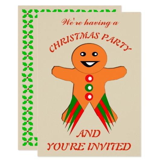 Christmas Party Gingerbread Man Custom Invites