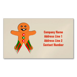 Christmas Party Gingerbread Man Custom Magnetic Business Card