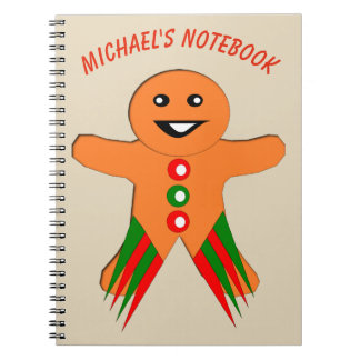 Christmas Party Gingerbread Man Custom Notebook