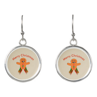 Christmas Party Gingerbread Man Drop Earrings