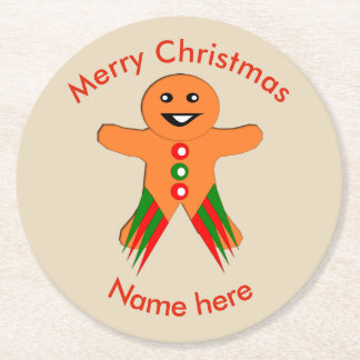 Christmas Party Gingerbread Man Paper Coasters